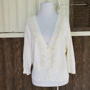 Torrid size 1 ivory ruffle cardigan button front